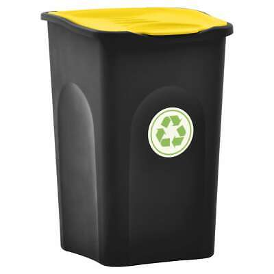 vidaXL Trash Bin with Hinged Lid 50L Black and Yellow Household Garbage Can