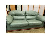 Two Seater Leather Sofa - Green