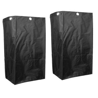 2pcs Hotel Service Cart Waterproof Bag Janitorial Cleaning Cart Bags Black