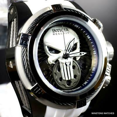 Invicta Reserve Bolt Zeus Marvel Punisher Swiss Mvt White Rubber 52mm Watch New