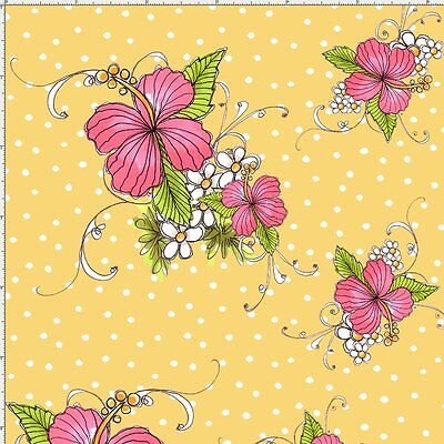 Loralie Lady Luau Flower Fabric Toss Yellow Quilting 100% Cotton Last ones (Luau Crafts)