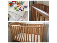 Mothercare Cot bed & Pocket Spring Mattress plus toys