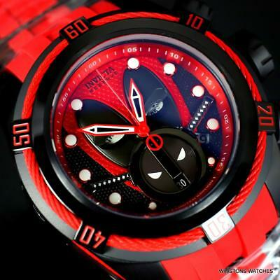 Invicta Reserve Bolt Zeus Marvel Deadpool 52mm Red Rubber Swiss Mvt Watch New