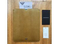 Genuine Giorgio Armani sleeve i pad case in snake embossed soft calf leather
