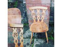 Vintage Ercol Fleur de Lys dining chair