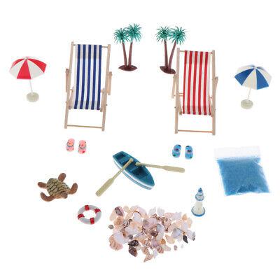 1:12 Strand-Mikrolandschaft Miniliegestuhl Strandkorb Sonnenschirm für DIY