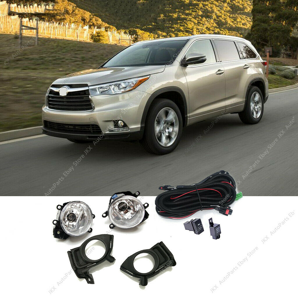 2014-2016 Highlander Fog Light Clear Front Lamps w// Wiring Kit PAIR
