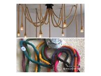 10HeadIndustrial Pendant Light Retro Vintage Chandelier Hemp Rope Ceiling spider in 2 colours
