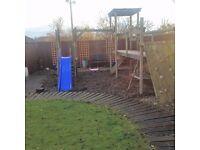 Climbing Frame, Slide, Swing and Fireman's Pole