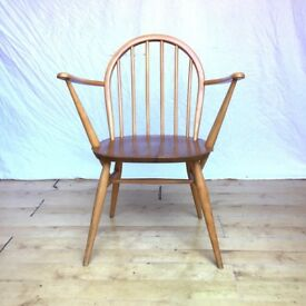 Vintage Ercol 370a Windsor carver armchair office desk dining kitchen chair