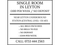 £100 per week. NO DEPOSIT. NO BILLS TO PAY. Near Leyton station (Central Line)