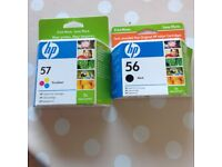 HP ink cartridges. Tri colour 57 and black 56