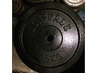 "200kg 1"" metal weights, bench, bar & dumbbells."