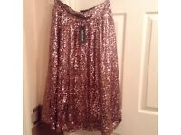 RIVER ISLAND PINK SEQUIN SKIRT. BRAND NEW