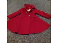 Girls red monsoon coat age 6