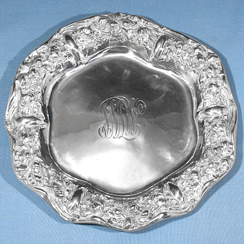 """UNGER BROS STERLING 9 3/4"""" EMBOSSED FLOWERS RUFFLED EDGE CHARGER ~ MONO SMW"""