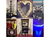 Party and events services - Venue decor, Equipment hire, Sweet cart, Candy floss, Slush, Popcorn.