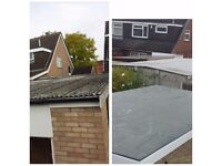 Flat roof repair replacement epdm firestone rubber roofing no leaks asbestos removal handyman roofer