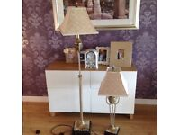 Matching pair of stunning lamps, one free standing, one a table lamp.