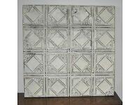 Original Vintage American Tin Ceiling Tile Mounted on Wooden Frame Art Deco