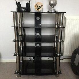 TV- Hi-Fi Media Unit Black Glass 5 Shelves