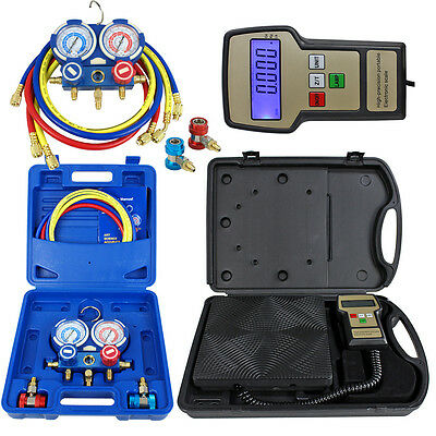 Deluxe Manifold Gauge Set R134a R410a R22 Electronic Digital Refrigerant Scale