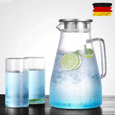1.5 L Wasserkaraffe Glaskaraffe Wasserkrug Edelstahlausgießer trinken Flasche DE ()