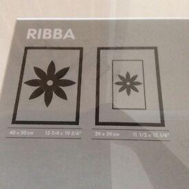 2 grey metal finish photo frames