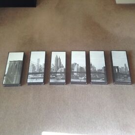 Brooklyn Bridge 6 Panel Picture Set with Deep Wood Framing