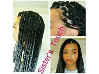 Sisters Touch! For all your braiding and weave on. We are fast as it's 3 of us!!