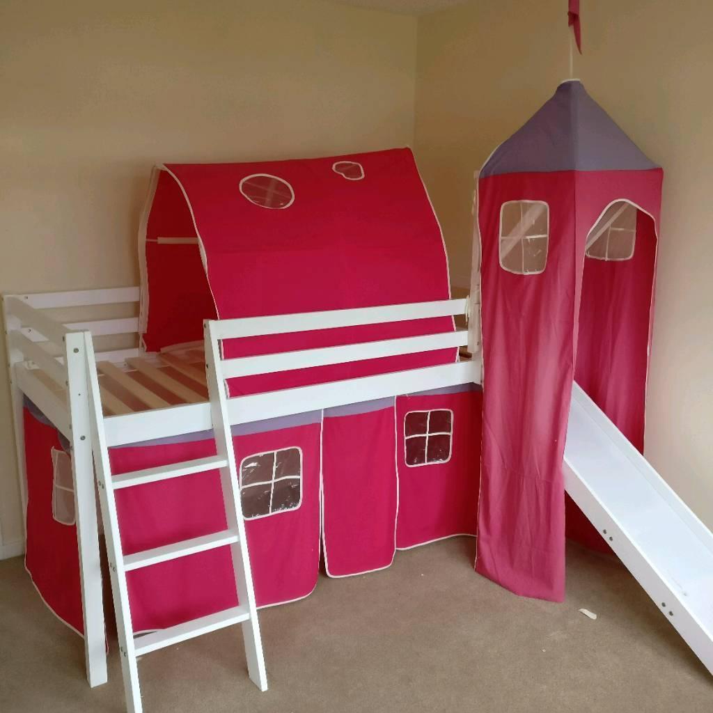 childrens cabin bed with slide and under bed den in. Black Bedroom Furniture Sets. Home Design Ideas