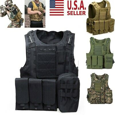 Military Vest Tactical Plate Carrier Holster Police Molle Assault Combat Gear US