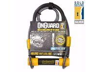 (2240) ONGUARD BULLDOG 8012 DT U-LOCK + CABLE BIKE SHACKLE D-LOCK BICYCLE- Silver Sold Secure Rating