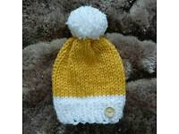 Mustard and Violet beanies