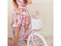 STUNNING Pink Bike Flower Stand - Shabby Chic - Sign