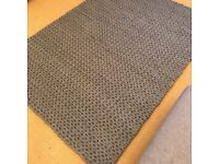 Large Grey Rug - 100% Hand Woven Wool