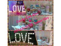 Candy Cart hire , 4ft LOVE lights for hire & Silk wedding flower packages