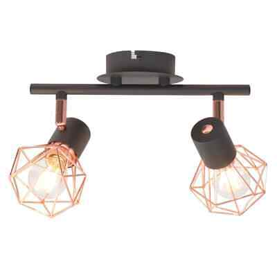 vidaXL Lámpara de Techo Industrial con 2 Bombillas Filamento LED Negra Cobre