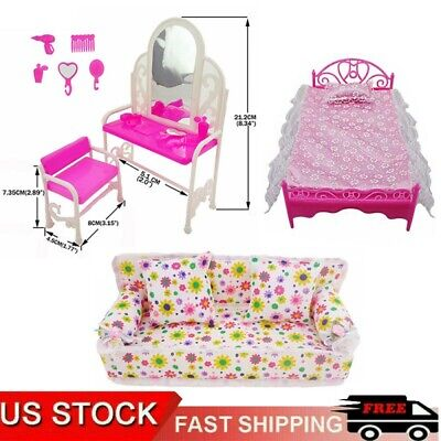 Dolls Furniture Play House Pink Bed Table Chair Set Bedroom for Barbie Toys HOT
