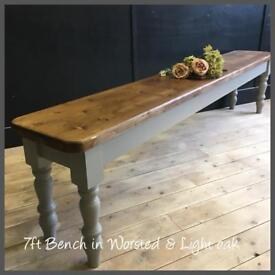 PINE NEW HANDMADE TO ORDER PINE FARMHOUSE BENCHES IN ANY COLOUR SIZE AND WOOD STAIN