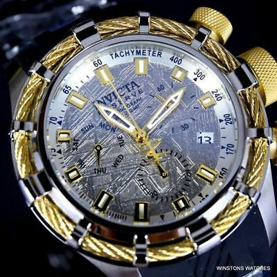 Invicta Reserve Bolt Zeus Muonionalusta Meteorite Swiss Mvt Gold Tone Watch New
