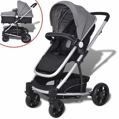 vidaXL Kinderwagen 2-in-1 Grijs en Zwart Aluminium Wandelwagen Kinder Wagen