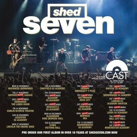 4x Shed Seven standing tickets, Manchester Academy, Friday 22nd December 2017