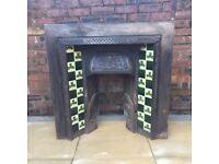 Victorian Cast Iron Fireplace & Stone Backing Shield