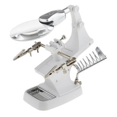 Helping Hand Magnifier With Light Soldering Stand Holder Magnifying Glass