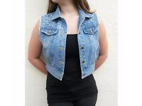 cropped denim jacket, size 10