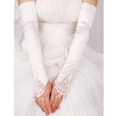 DreamHigh Satin Lace Fingerless Above Elbow Length Wedding Party Evening Gloves Above Elbow Bridal Gloves