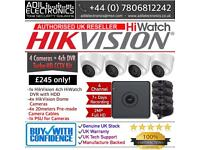Hikvision 4 Cameras HiWatch Turbo-HD Full CCTV Kit: 4CH DVR & 4x Full HD 1080P 2MP Dome Cameras