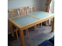 Beech Glass Topped Table & 6 Chairs plus unit