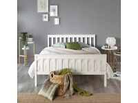 Beds Solid Wood White Shaker Bed Frame (Small Double (120 x 190 cm))